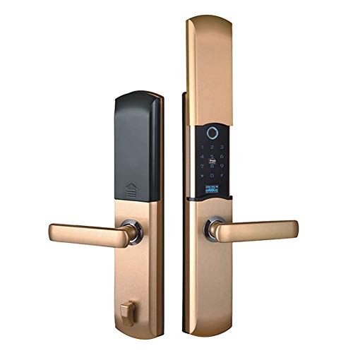 H-LocksSmart Türschloss Anti-Diebstahl-Automatik Slide Semiconductor Fingerprint Magnetkartenschloss Handy-App Geeignet Für Familien-Indoor-Villa Apartment,Gold -