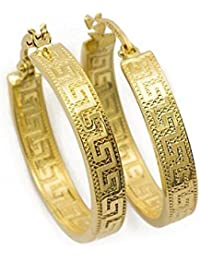 Prins Jewels PRI217A - Pendientes de aro con diseño de clave griega de oro amarillo 750 de 18quilates diamantado, 2,7x 14mm de diámetro