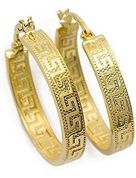 Kleine Griechische Schlüssel Ohrringe Creolen Gelbgold Aus 18 Karat / 750 Gold Diamantiert ( 2.7 x 14 Ø mm ) -...