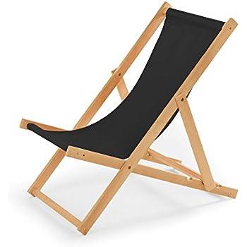 magasin en ligne e15e2 fbc9f Chaise longue de jardin en bois - Fauteuil Relax - Chaise de plage noir