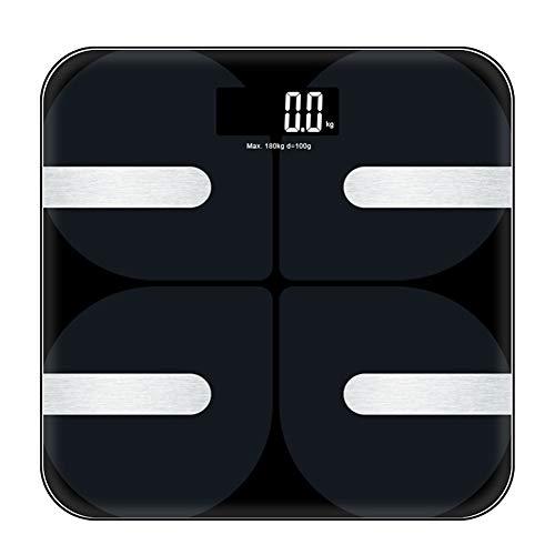 YMYJZ Bluetooth Body Fat Scale, HD LED-Display Digital Body Weight Bathroom Scales 18 Health Measurements Daten mit Smart BMI Scale Automatische Abschaltung (Schwarz)