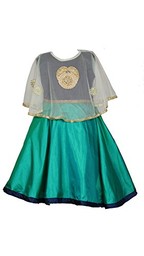 My Lil Princess Baby Girls Birthday Party wear Frock Dress_Blue Green Poncho_1 - 1.5 Years