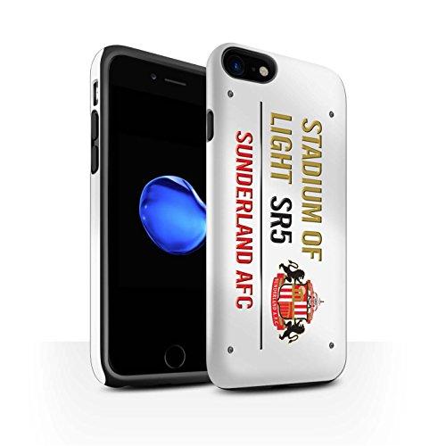 Officiel Sunderland AFC Coque / Matte Robuste Antichoc Etui pour Apple iPhone 8 / Blanc/Noir Design / SAFC Stadium of Light Signe Collection Blanc/Or