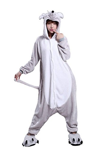 URVIP Neu Unisex Festliche Anzug Flanell Pyjamas Trickfilm Jumpsuit Tier Cartoon Fasching Halloween Kostüm Sleepsuit Party Cosplay Pyjama Schlafanzug Maus Large (Für Erwachsene Weibliche Robin Kostüm)