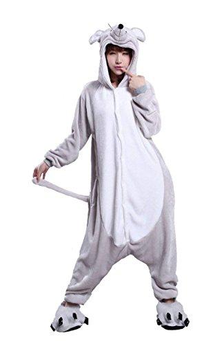 URVIP Unisex Festliche Anzug Flanell Pyjamas Trickfilm Jumpsuit Tier Cartoon Fasching Halloween Kostüm Sleepsuit Party Cosplay Pyjama Schlafanzug Maus ()