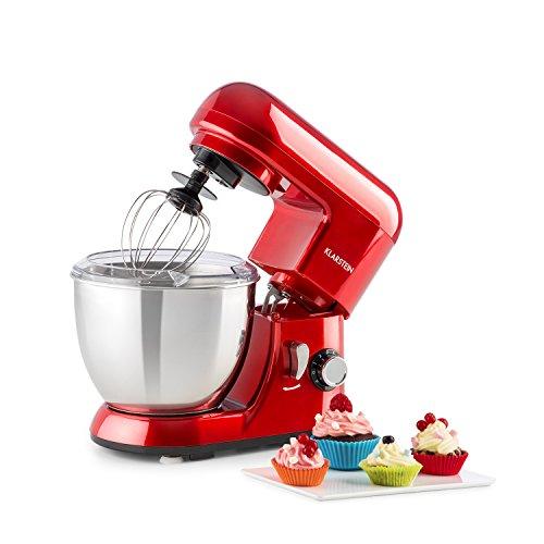 Klarstein Bella Pico Mini - Robot de cocina, Batidor, Amasador, 550 W Nominal, 800 W Pico Máx, 6 niveles...