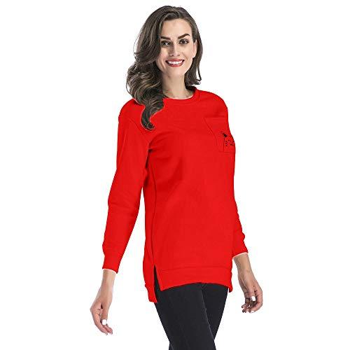 Mymyguoe Damen Cat Ear Gedruckt Langarmshirt Tuniken Blusen Beiläufige Tops T-Shirts Pullover Pulli Shirt Herbst Winter Frühling