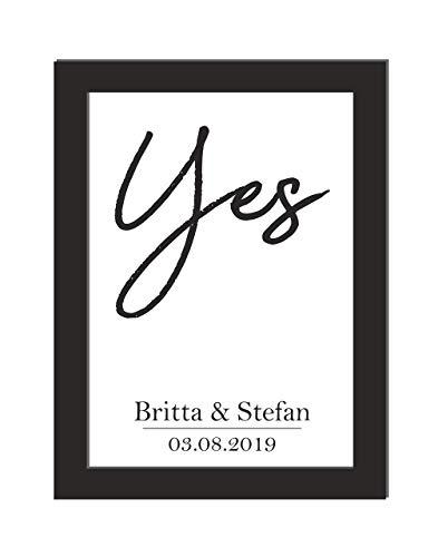Personalisiertes Wandbild/Geschenk Hochzeit/Jahrestag/Hochzeitsgeschenk/Yes/Billanter Laserdruck auf hochwertigem Papier/DIN A4, wahlweise mit Bilderrahmen