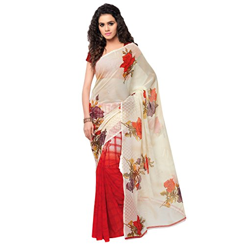 Anand Sarees Women's Georgette Saree (1080_RED-YELLOW-BROWN)  available at amazon for Rs.249