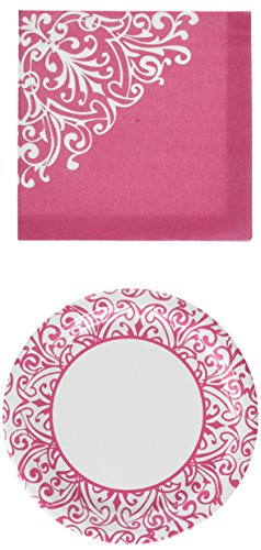 Royal Princess Pink Party Pack - Dinner Plates, Dessert Plates & Napkins - Serves 18 (58 Pieces) by Party! (Party Princess Royal)