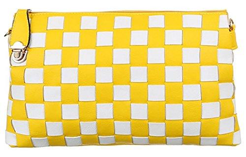 MYWY - Pochette donna quadri ecopelle borsa donna similpelle borsetta tracolla casual giallo