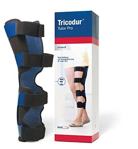 TRICODUR Tutor Pro Knie Orthese - sichere Immobilisierung des Kniegelenks auf leichte Art - 4 beidseitig einstellbare Klettverschlüsse für passgenaue Fixierung (0° oder 20°), Universal-Größe