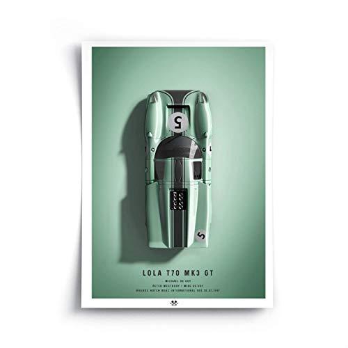 Kultkolben Poster 1967 Lola T70 Mk3 GT Oben - individualisierbar, 6 Farben, 3 Größen -