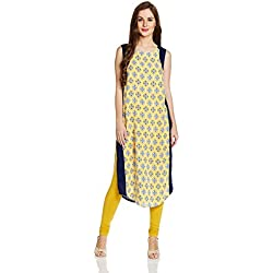 Aurelia Women's Straight Kurta (17FEK13063-62097_XL_YELLOW)
