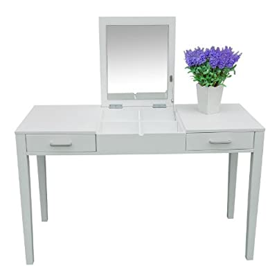 Homcom Dressing Table Makeup Table Writing Table Desk with Folding Vanity Mirror Drawer Storage Desk Hair/Jewellery Room/Bedroom White - low-cost UK light shop.