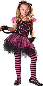 CARITAN disfraz de gato disfraz de bruja con Diadema y cola en Deluxe, para niños (8-10años)
