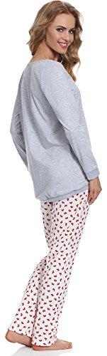 Cornette Damen Schlafanzug CR6992016 Melange/Weiß/Rot