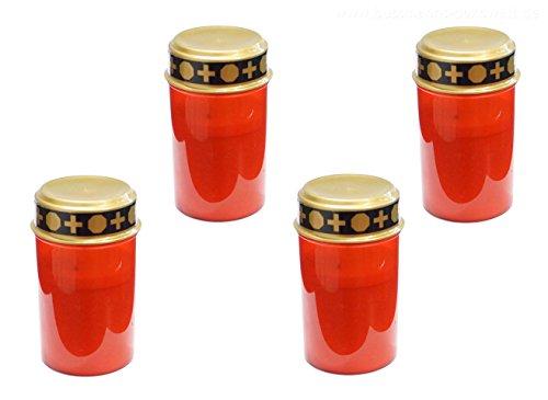 4 x Bougies funéraires LED Rouge Grab Bougies funéraires Leuchten Lanterne Funéraire Tombe Bougie Bougie