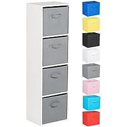 Hartleys Unité Cube Blanc a 4 Niveaux - Choix de Boites de Rangement