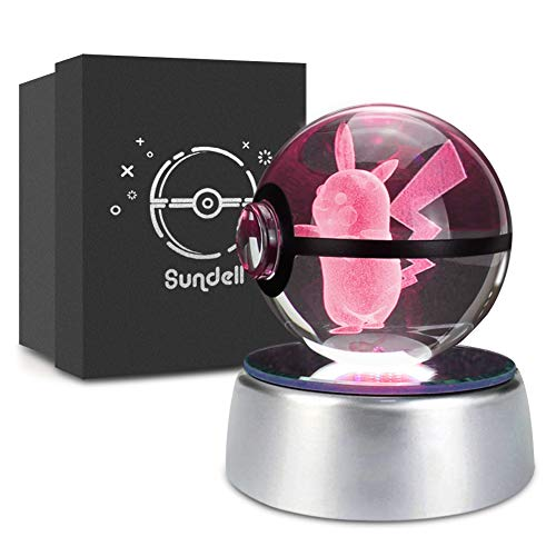 Lampe Geschenk-set (Weihnachts Geschenke für Kinder, Geschenkideen für Geburtstag, 3D Crystal Ball mit Verfärbungsbasis, Geschenk Personalisiert für Junge und Mädchen, Geschenk Boxen Set (Pikachu))
