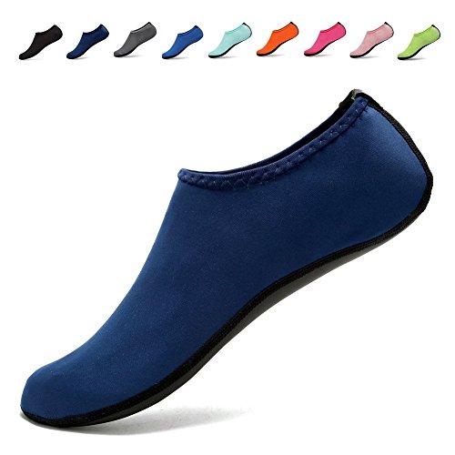 DADASIY 3rd Upgraded Version Durable Sole Barefoot Water Skin Shoes Aqua Socks For Beach Pool Sand Swim Surf Yoga Water Aerobics Navy