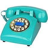Telefono Vintage Stile Anni '70 Retrò Telefono Fisso, Suoneria Retrò Autentica (Blu)