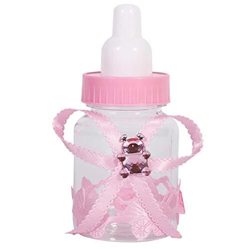SODIAL 50 Stücke M?dchen Jungen Baby Dusche Dekorationen Praline Flasche Taufe Begünstigt Weihnachten Halloween Party Geschenke Box Kunststoff Fall Rosa (Für Baby-dusche Baby-jungen Begünstigt)