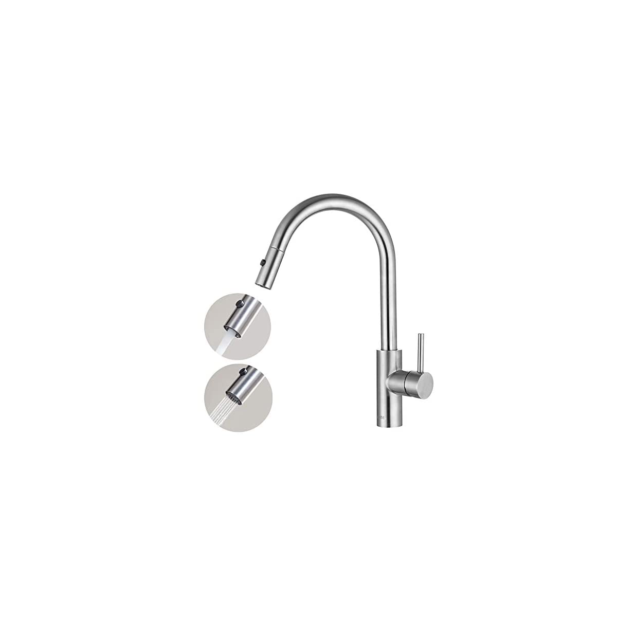41XKRZNYySL. SS1200  - Umi. by Amazon - 360° Giratorio Grifo de Cocina Extraíble 2 Modos de Chorro Grifo Mezclador Monomando para Fregadero Agua Caliente y Fría