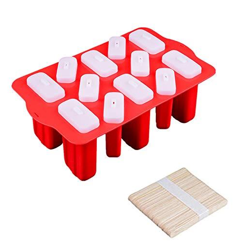 ECOSWAY Silikonform mit 9 Mulden mit Deckel, Eis-Lolly Form, Eiscreme Bar Pop Form, Kieselgel-Eis-Sucker Tablett DIY Dessert Eiscreme Würfel Tablett ~ mit hölzernen Stielstäben 12 Cavity