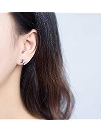 71a747b658f8 Good dress S925 Plata Oreja Clavo Femenino Simple Personalidad Avión  Pendientes de Diamantes Pendientes del Oído Joyería de Moda