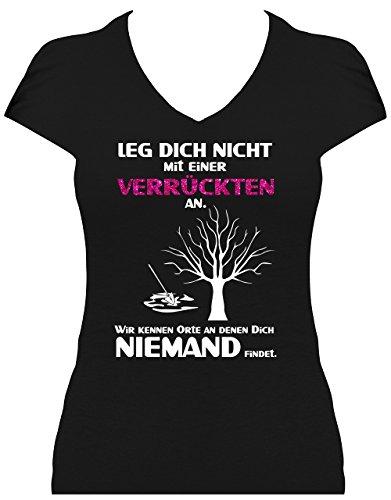 Damen Fun Shirt Spruch Leg Dich nicht mit einer Verrückten an Sprüche GLITZERAUFDRUCK Leg Dich niemals Schwarz