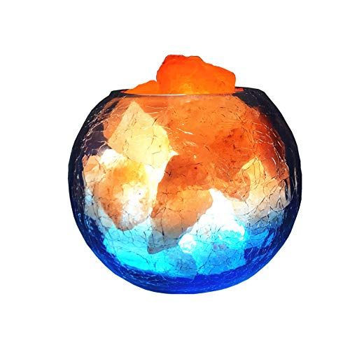 Desk Lamps Lampe de sel de Cristal, réglable avec Le Cordon de gradateur de LED, Cristaux de sel purs dans Le Bol de glaçage, soulager la Lampe de sel de sécurité de Stress.