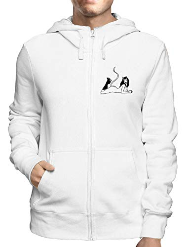 Sweatshirt Hoodie Zip Weiss FUN1680 Guys Guy Zip Hoodie
