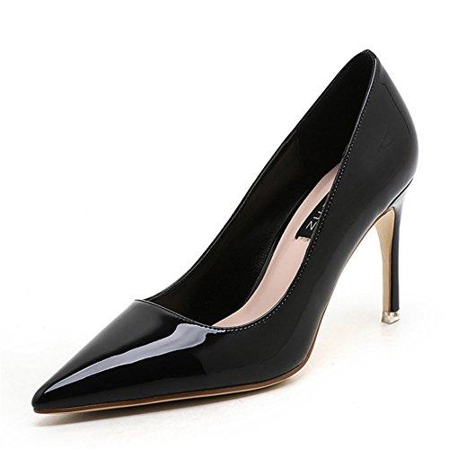 Aisun Damen Sexy Spitz Zehen Lackleder Low Top High Heels Stiletto Pumps Schwarz
