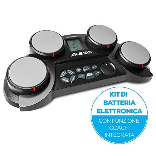 Alesis CompactKit 4 - Batteria Elettronica Portatile da Tavolo con 4 Pad Sensibili Alla Velocity, 70 Suoni di Percussioni, Funzione Coach e Game, Alimentazione a Batterie o di Rete e Bacchett