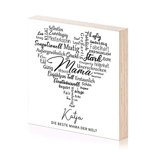 Beste Mama personalisiertes Holzbild 15x15 zum Hinstellen oder Aufhängen als Geschenk oder Geschenkidee für Mum Mutti Mutter Frau zum Geburtstag Muttertag Geburtstagsgeschenk Wand-Deko Wand-Bild -