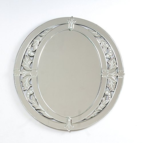 "Quality Glass Glass And MDF Venetian Wall Mirror (26""x26"", Silver And White, Oval Shaped Mirror)"