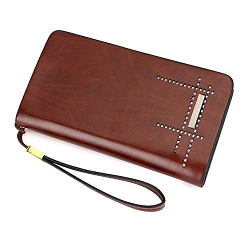 Mjhwsx Borsetta Ecopelle Affari Elegante Portafoglio Multi-card solido borsa di colore casuale di cuoio sintetico uomo interno staccabile lungo Pochette , red brown