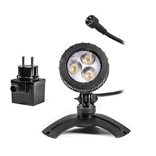 Leistungsfähiger Teichstrahler mit LED Beleuchtung, Teichlicht, Unterwasser Strahler, LED Spotlampen, unter Wasser oder an Land verwendbar, Unterwasserbeleuchtung