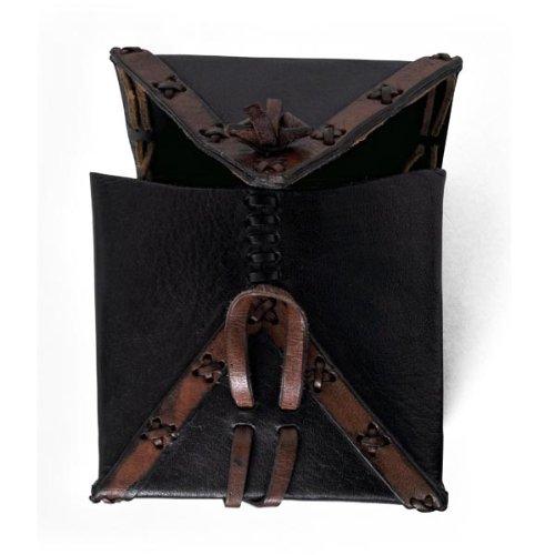 Leder Tasche für Gürtel Mittelalter schwarz braun quadratisch antikes Design LARP Beutel Pilger Koffer - 2
