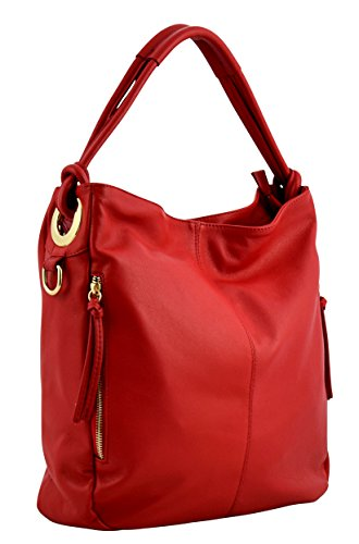 LENA Borsa a Spalla Mano Shopper Vera Pelle Donna Moda Made in Italy Rosso