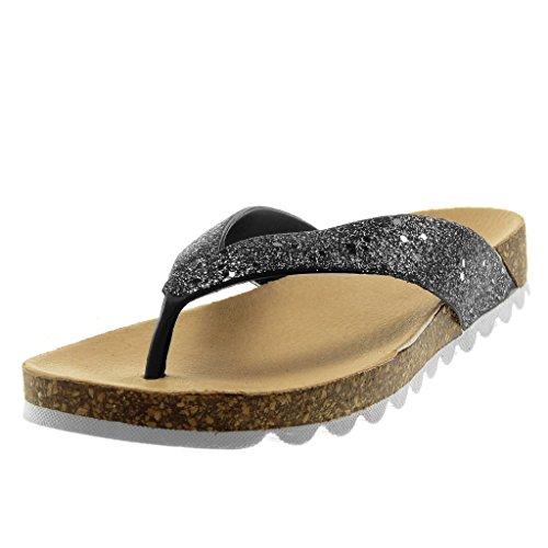 Angkorly - Zapatillas Moda Sandalias Chanclas Slip-on Suela de Zapatillas Mujer Brillante Corcho Plataforma 2.5 CM - Negro S16 T 36