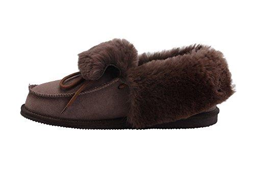Manner/Frauen Luxus Leder Mokassin Pantoffel- Voll Wolle Futter Und Manschette Braun