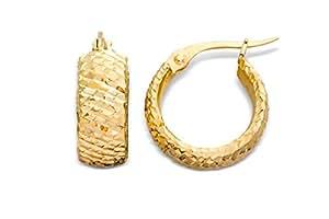 Miore women's 18ct Yellow Gold Diamond Cut Design Huggie Hoop Earrings of 1.55cm