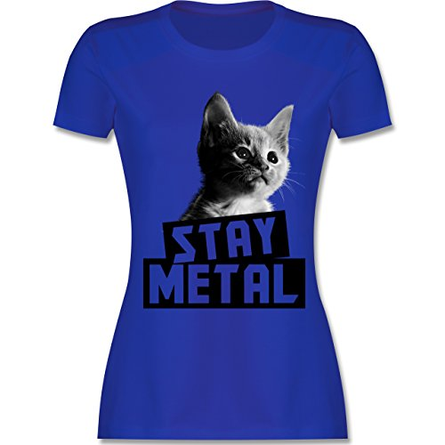 Shirtracer Metal - Stay Metal Katze - Damen T-Shirt Rundhals Royalblau