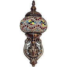 Lámpara Turca de Pared Decorativa Mosaico Oriental de Vidrio Multicolor para Interior Exterior Led Bombilla Incluida