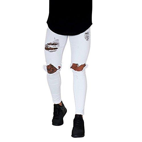 2d5b6a424 Gusspower Pantalones Vaqueros Hombres Rotos Pitillo Slim Fit Skinny  Pantalones.