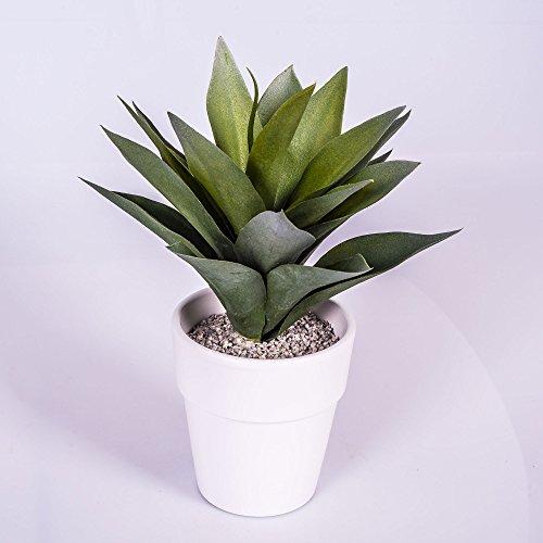 artplants Künstliche Agave mit 20 Blättern, grün, im weißen Terracotta Topf, 30 cm – Kunstpflanze Agave/Künstlicher Kaktus