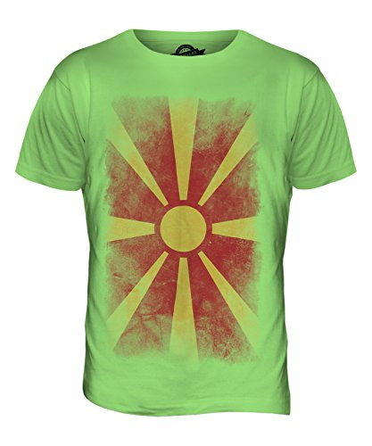 CandyMix Mazedonien Verblichen Flagge Herren T Shirt Limettengrün