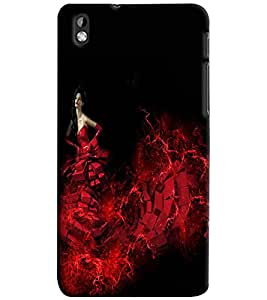 PrintVisa Modern Art Angel Girl 3D Hard Polycarbonate Designer Back Case Cover for HTC Desire 816